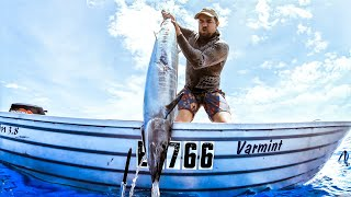 Spearfishing WAHOO From The Dinghy SHARKS EVERYWHERE Catch & Cook (Cyclone Footage) - Ep 167