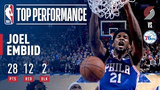 Joel Embiid Scores 28 in Win vs. Blazers | November 22, 2017