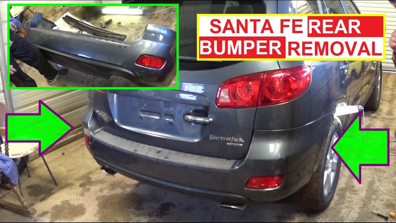 hight resolution of rear bumper cover removal and replacement hyundai santa fe 2006 2007 2008 2009 2010 2011 2012