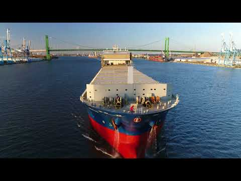 Aerial Drone Video of Cargo Ship Osakana Delaware River Philadelphia