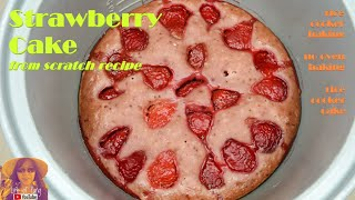 EASY RICE COOKER CAKE RECIPES: Strawberry Cake from Scratch Recipe |  Cake with Frozen Strawberries
