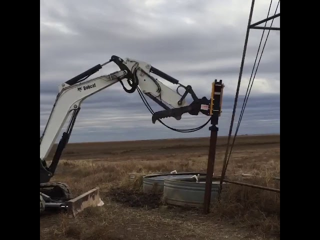Montana Post Driver on Bobcat Excavator