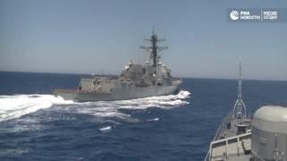 Эсминец США опасно приблизился к российскому кораблю