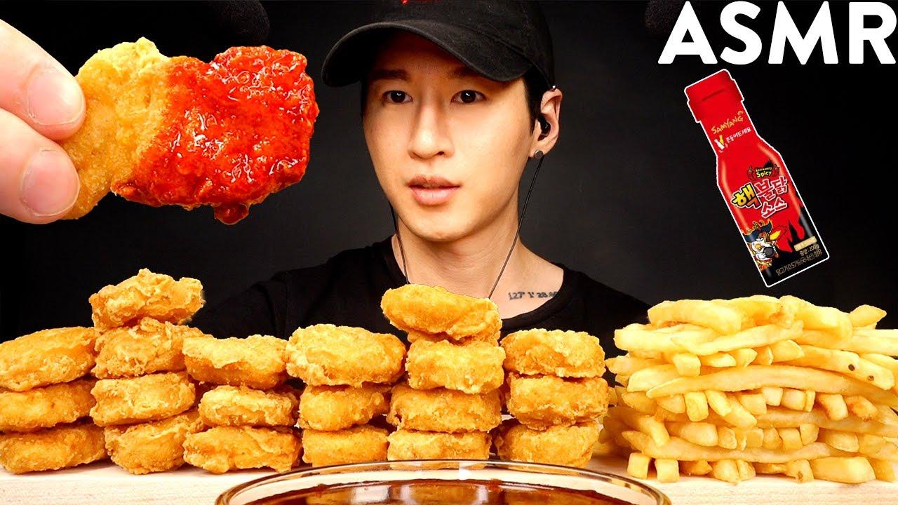 ASMR NUCLEAR FIRE NUGGETS & FRIES MUKBANG (EATING SOUNDS) | Zach Choi ASMR