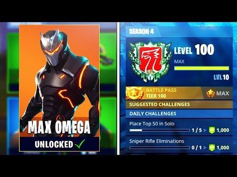 UNLOCKING Level 100 Omega! World's First Level 100 in Season 4! (Fortnite Season 4 Level 100 Omega)