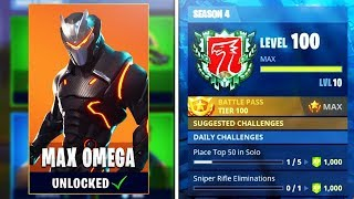 UNLOCKING Level 100 Omega! World's First Level 100 in Season 4! (Fortnite Season 4 Level 100 Omega)