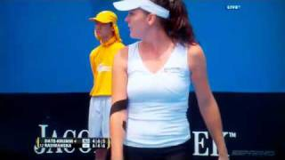 Fail- Tennis, Racket breaks alone  and woman lose the point