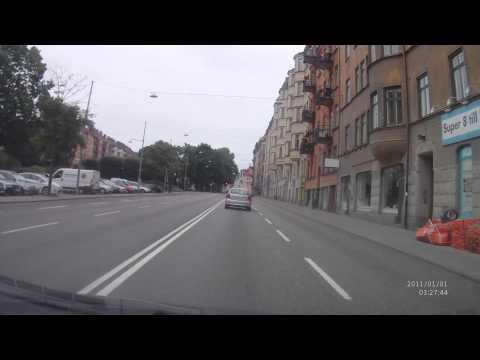 From north E4 motorway to Värtahamnen port in Stockholm city