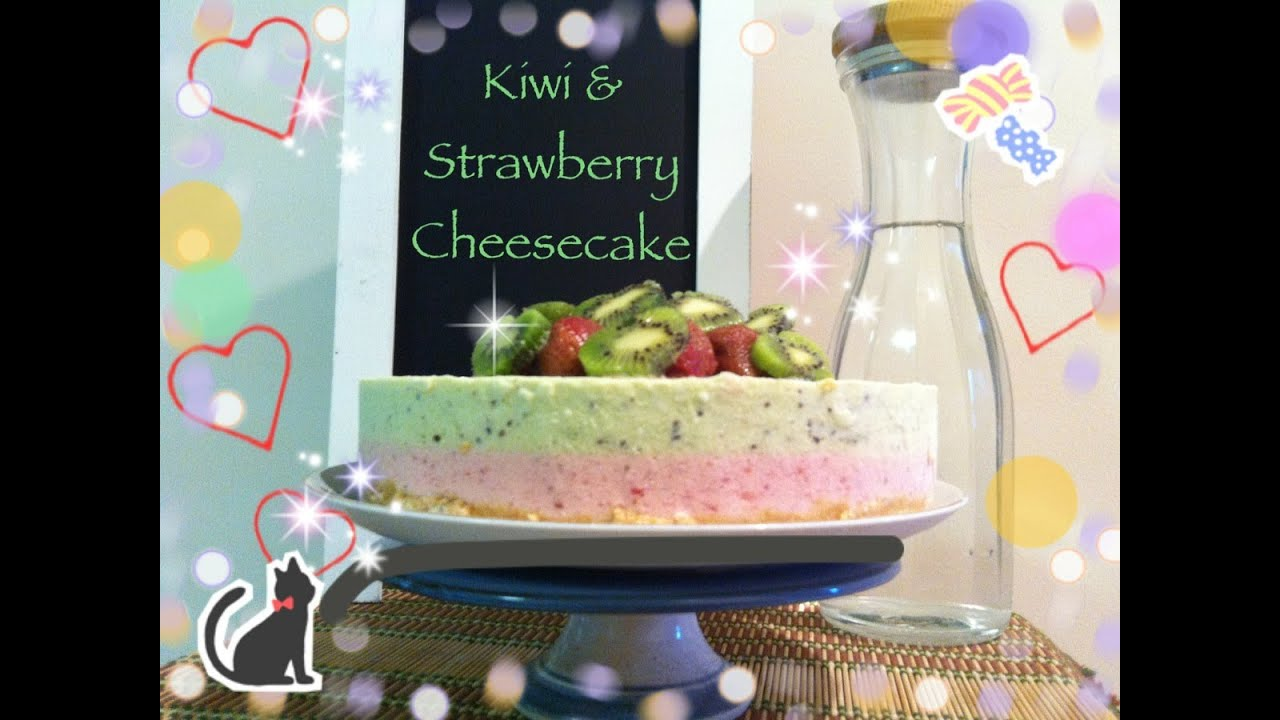 How To Make Kiwi & Strawberry Cheesecake - YouTube