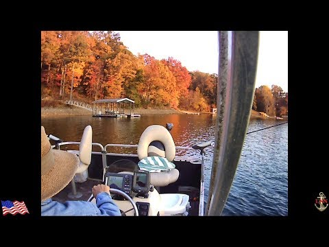 Bass Fishing in November, Pontoon Boat Style, so bundle up and come along for the ride.
