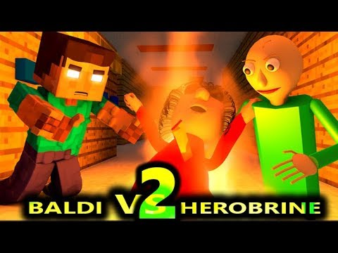 BALDI'S BASICS VS HEROBRINE CHALLENGE 2! (Official) Baldi Minecraft Animation Horror Game