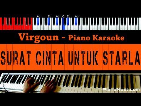Virgoun - Surat Cinta Untuk Starla - HIGHER Key Piano Karaoke - Indonesian Song