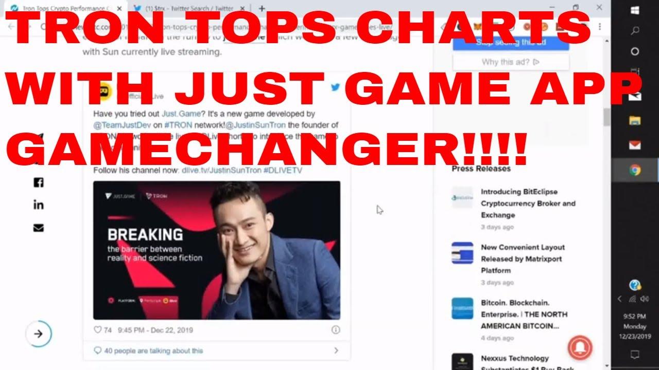 Tron TRX News Today Justin Sun Tron Just Game APP Tops Crypto Charts Tron Trx Latest News 3