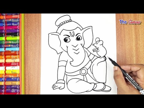 How to Draw Lord Ganesha with simple lines | Ganesh chaturthi special Easy Ganpati Drawing