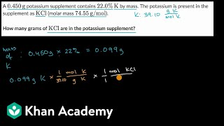 Worked example: Calculating tнe mass of a substance in a mixture   AP Chemistry   Khan Academy