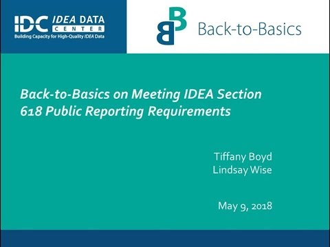 Back-to-Basics on Meeting IDEA Section 618 Public Reporting Requirements