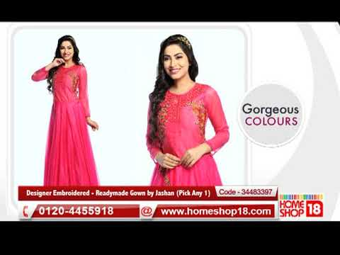 Homeshop18com Designer Embroidered Readymade Gown By Jashan
