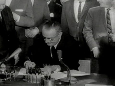 Signing of the Civil Rights Act by Lyndon B. Johnson