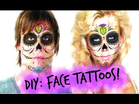 bf96edde1 DIY: Sugar Skull Day of the Dead Temporary Face Costume Tattoos ...