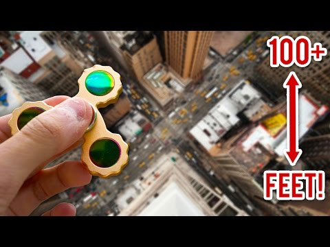 RARE GOLD FIDGET SPINNER VS 100FT DROP EXPERIMENT!! (Will It Survive?)