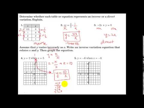 Glencoe Algebra 1 11 1 Inverse Variation Youtube