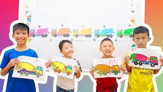 Kids go to School Learn Coloring Ready Mix Concrete Truck | Classroom Funny Nursery Rhymes