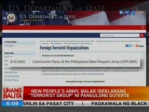 "UB: New People's Army, balak ideklarang ""terrorist group"" ni Pangulong Duterte"