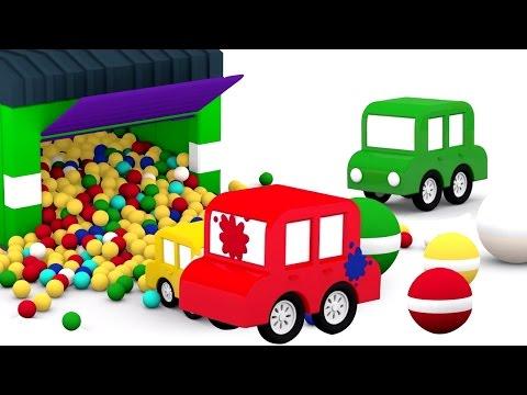 3D мультики про машинки. 4 машинки и мячики с краской