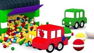 3D мультики про машинки. 4 МАШИНКИ: мячики с краской. Развивающие мультики для детей.