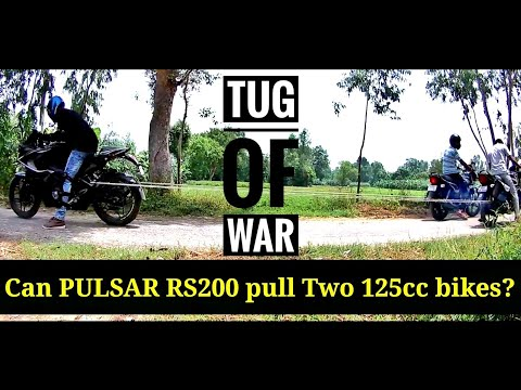 Can Pulsar RS200 pull two 125cc bikes?? |TUG OF WAR