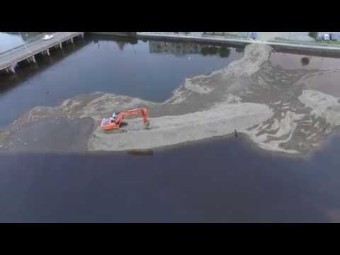Arklow, Co. Wicklow, Ireland - River Dredging - Drone Footage