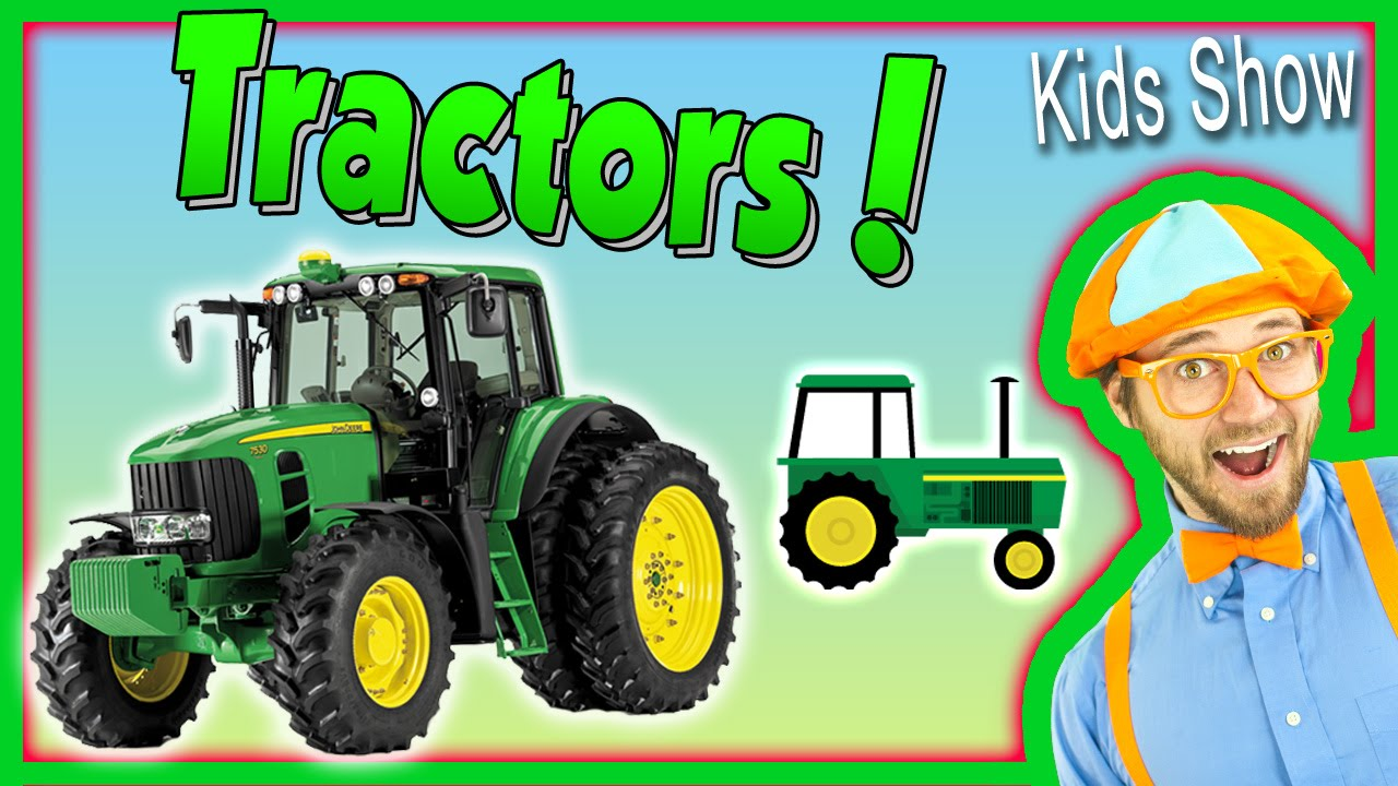 Up The Tractor Green Tractor With Bucket Cartoon : Tractors for kids learn farm vehicles and equipment with