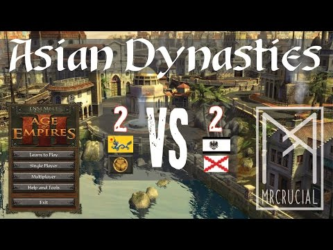 Age of Empires 3 Asian Dynasties | Hard 2v2 Multiplayer | Yellow River | Commentary