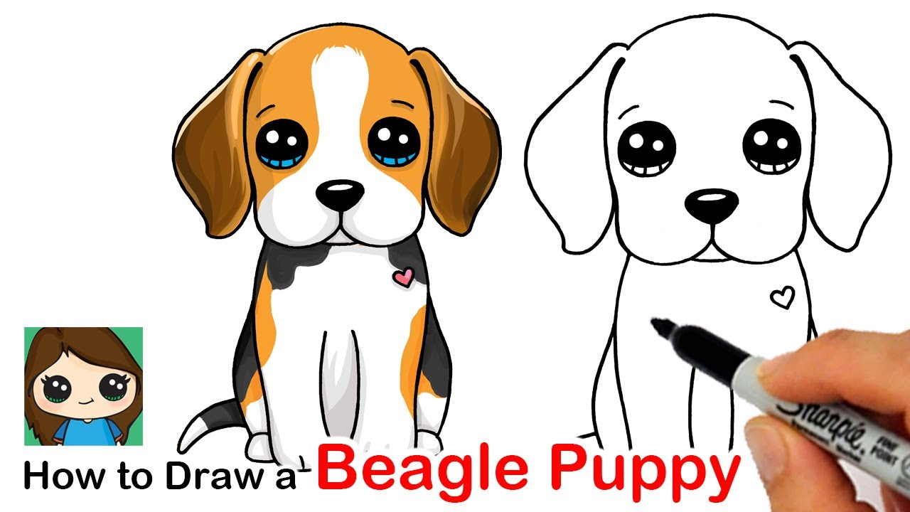 How to Draw a Beagle Puppy Dog Easy 🦴❤️