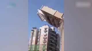Video showing a highrise collapsing went viral on Chinese social media