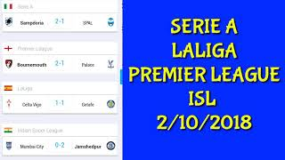CHAMPIONS LEAGUE RESULTS/SERIE A /LALIGA /PREMIER LEAGUE RESULTS/ISL RESULTS /TODAY FOOTBALL