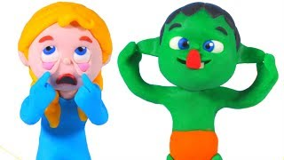 KIDS MAKING FUNNY FACES ❤ SUPERHERO PLAY DOH CARTOONS FOR KIDS