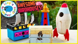 MAKING BIRDHOUSES! Painting and Learning and Playing with Izzy's Toy Time!