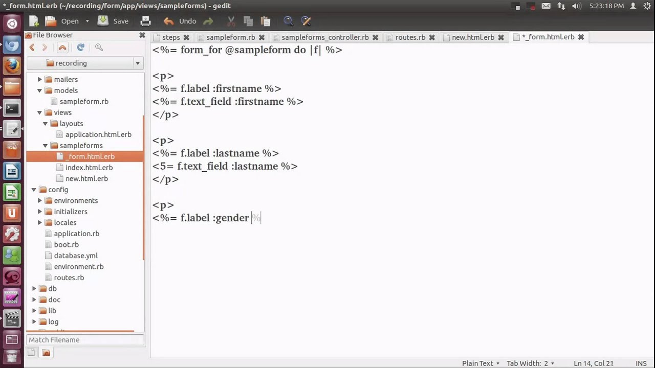 A Demo On Creating a sample form in rails application. - YouTube