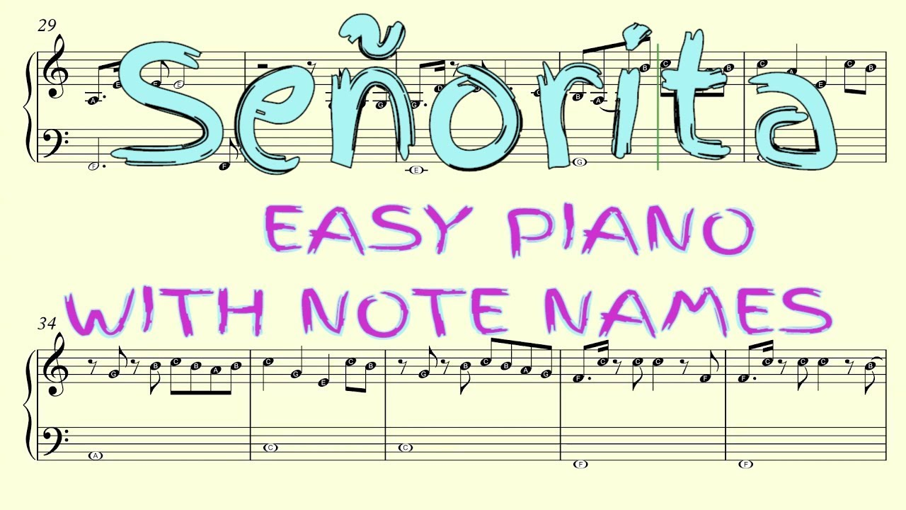 Señorita - Easy Piano Sheet Music with Note Names (Shawn ...