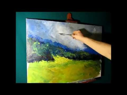 FREE! Heavy Textured Oil Painting, Landscape Part 1/3, Canvas Painting Techniques By Sergey Gusev