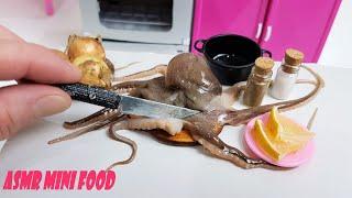 ASMR MINI KITCHEN OCTOPUS WITH ONION RINGS IN BATTER MINI FOOD ASMR