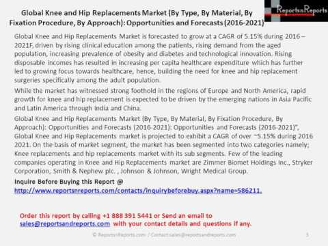 Knee and Hip Replacements Market Opportunities and Forecasts in 2016- 2021 Report