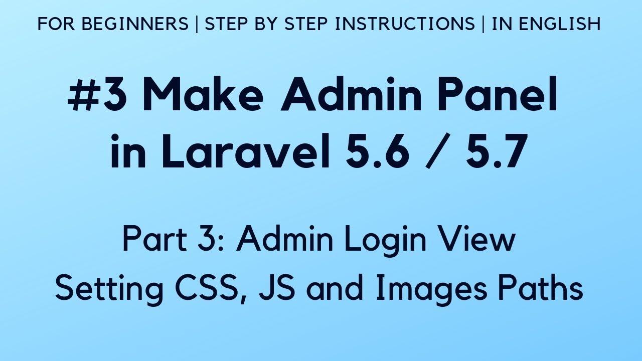 Part 3: Make admin panel in Laravel 5.6 - YouTube