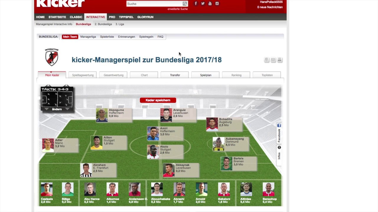 Kicker Manager Interactive Tipps