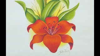 Como pintar en tela flores lilis