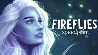 FIREFLIES SPEEDPAINT | Paint Tool SAI | Jenna Drawing