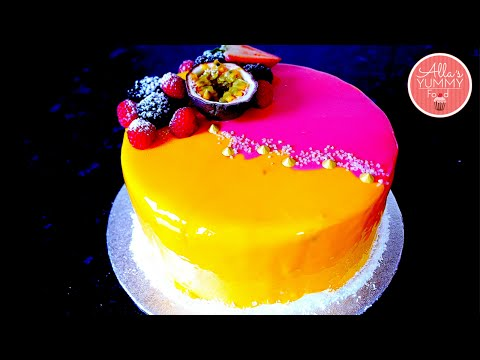 Mango & Passion Fruit Mousse Cake Recipe | Mirror Glaze | Торт Экзотик (Манго-маракуйя)