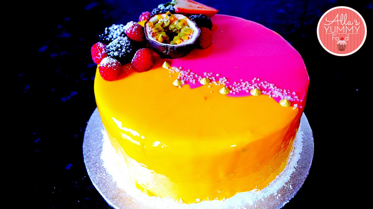 Mango passion fruit mousse cake recipe mirror glaze for Raspberry miroir