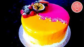Mango & Passion Fruit Mousse Cake Recipe | Mirror Glaze | Торт Экзотик (Манго-маракуйя)